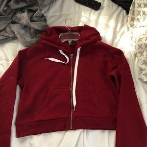 Zip up burgundy hoodie!